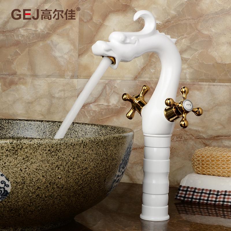 【高尔佳卫浴官网】金色面盆龙头水龙头全铜冷热欧式
