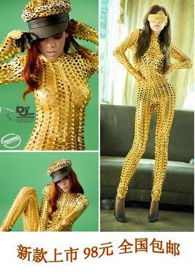 欧美明星gaga同款舞台装dS领舞演出服金色镂空连体战衣2013款COS