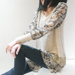 秋装新款 韩版 圆领 亮面针织衫 雪纺蕾丝 女装 套头打底衫