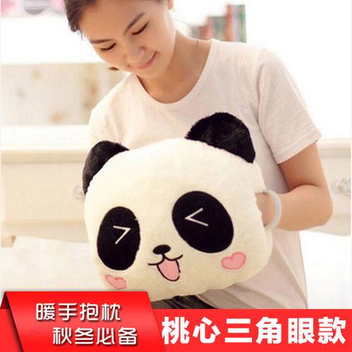 【超多多官网】可爱卡通熊猫枕头毛绒玩具旅行枕插手