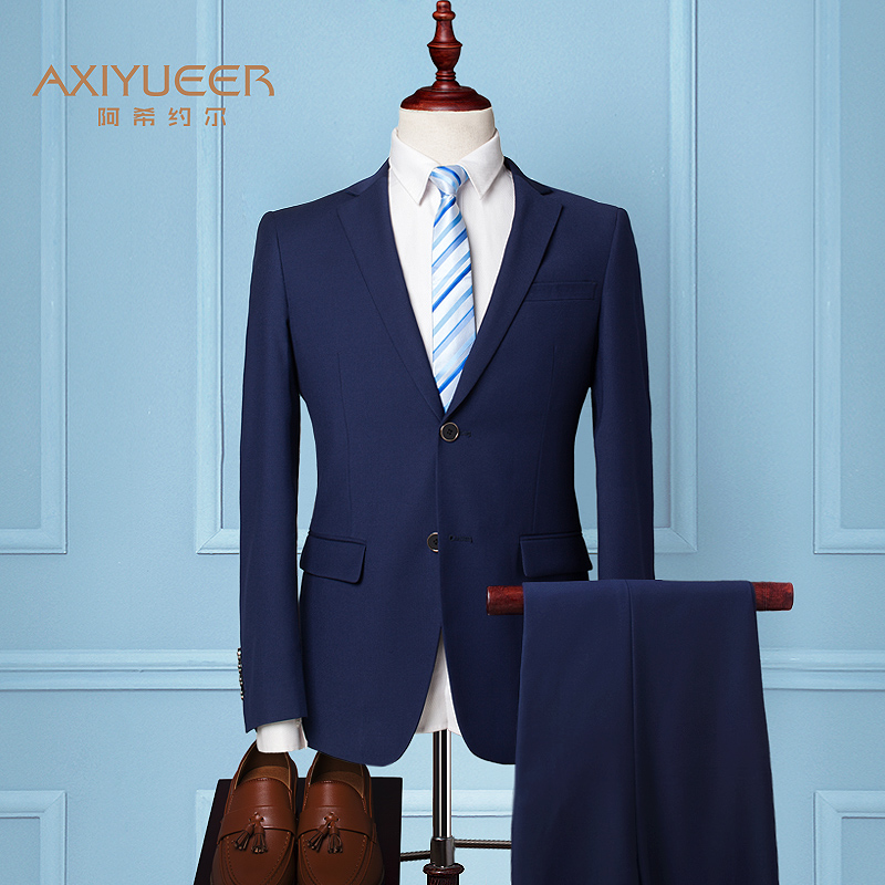 Color: Two-button Navy Blue (suit + trousers) + 9 gift