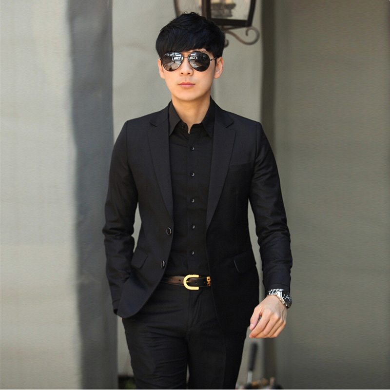 Color: Two-button black suit