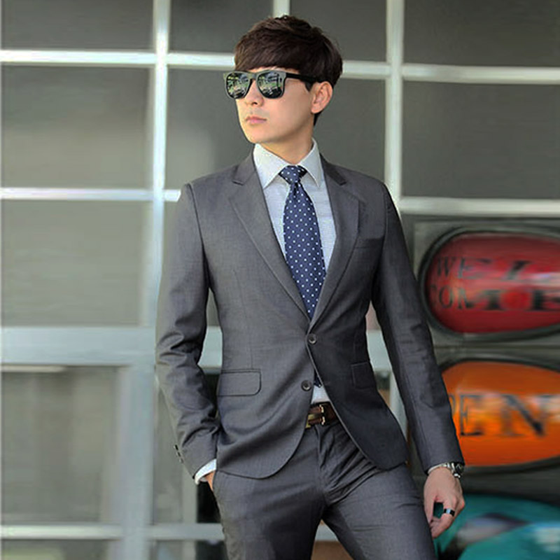 Color: Two-button gray suit