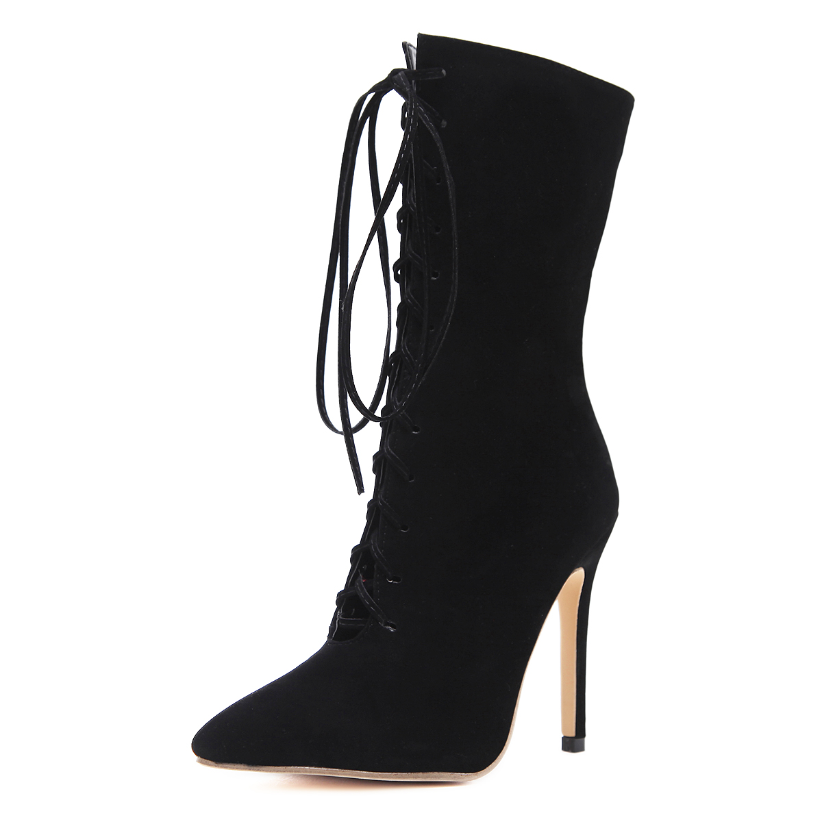 Contracted belt pointed boots - black