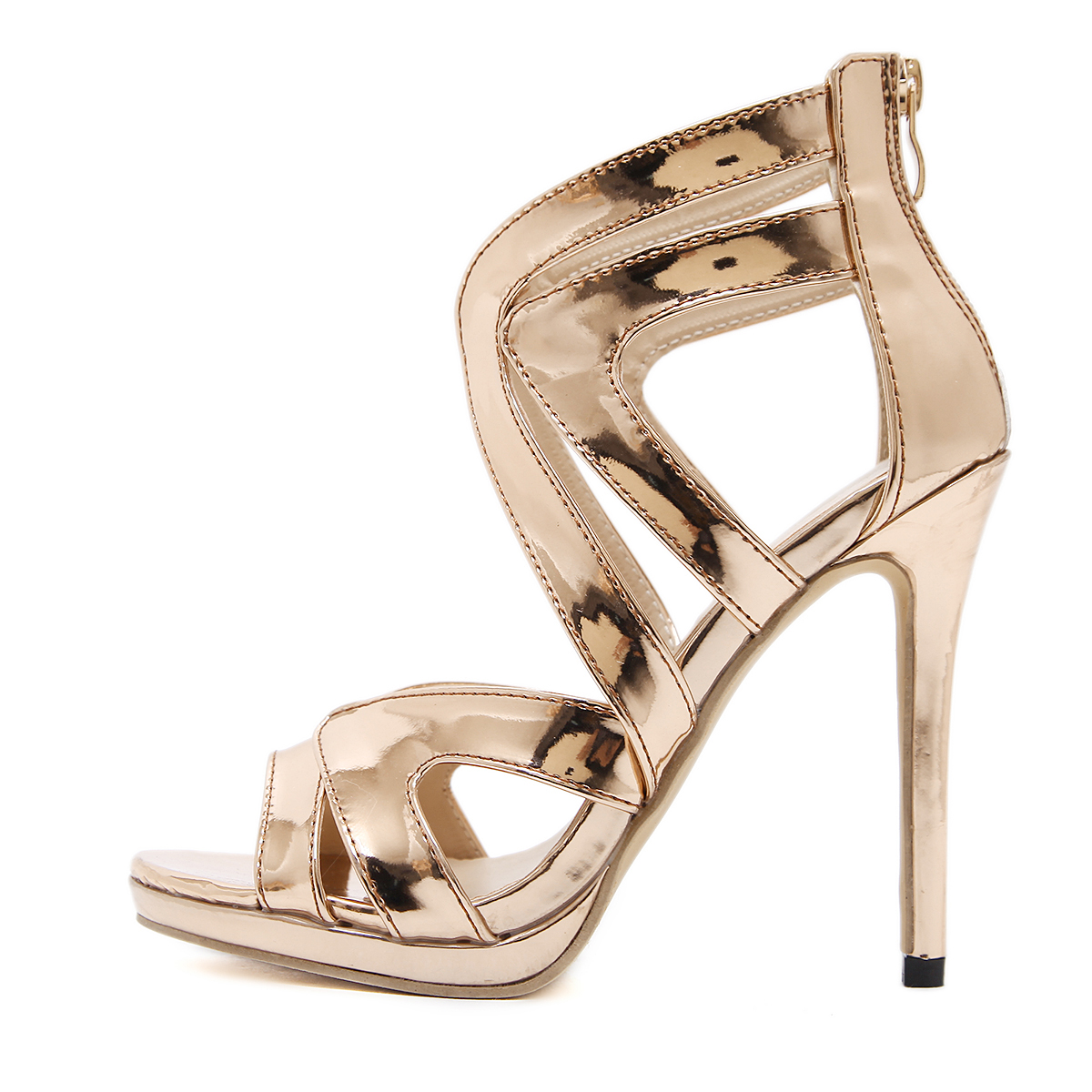 Street showered high-heeled sandals - champagne's main photo