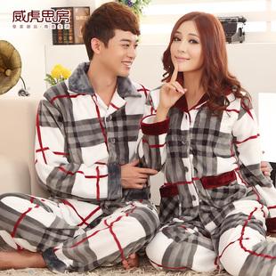 韩国加厚珊瑚绒睡衣法兰绒情侣睡衣男女士长袖秋冬季家居服套装