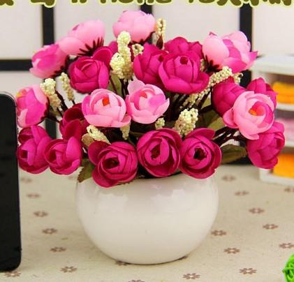1盆包郵絹塑料假花仿真花裝飾花藝套裝批發客廳裝飾品擺件小盆栽