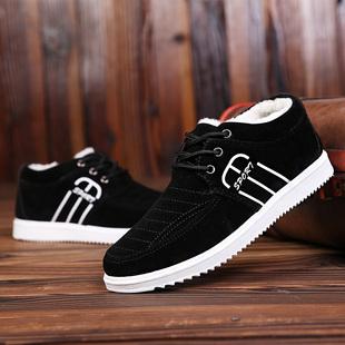 冬季加绒新款低帮保暖男式棉鞋韩版时尚男休闲鞋子潮男板鞋学生鞋