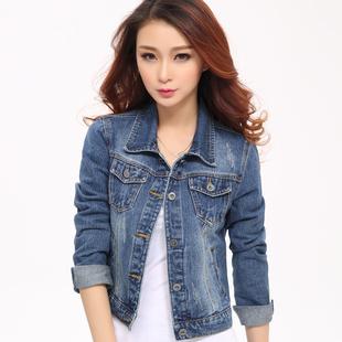 牛仔外套女长袖短款修身韩版潮牛仔褂上衣春秋外套短款学生夹克