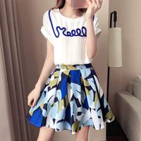 夏季新款2017套装撞色拼接上衣修身显瘦印花短裙名媛风时尚两件套