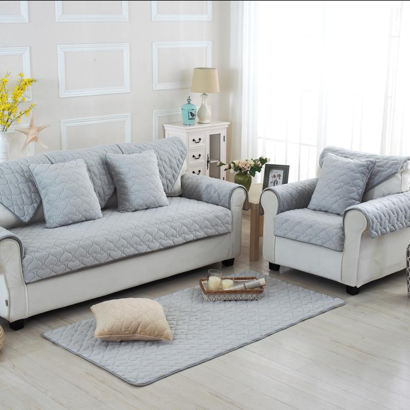 冬季简约现代欧式毛绒沙发垫套皮加厚法兰绒布艺防滑