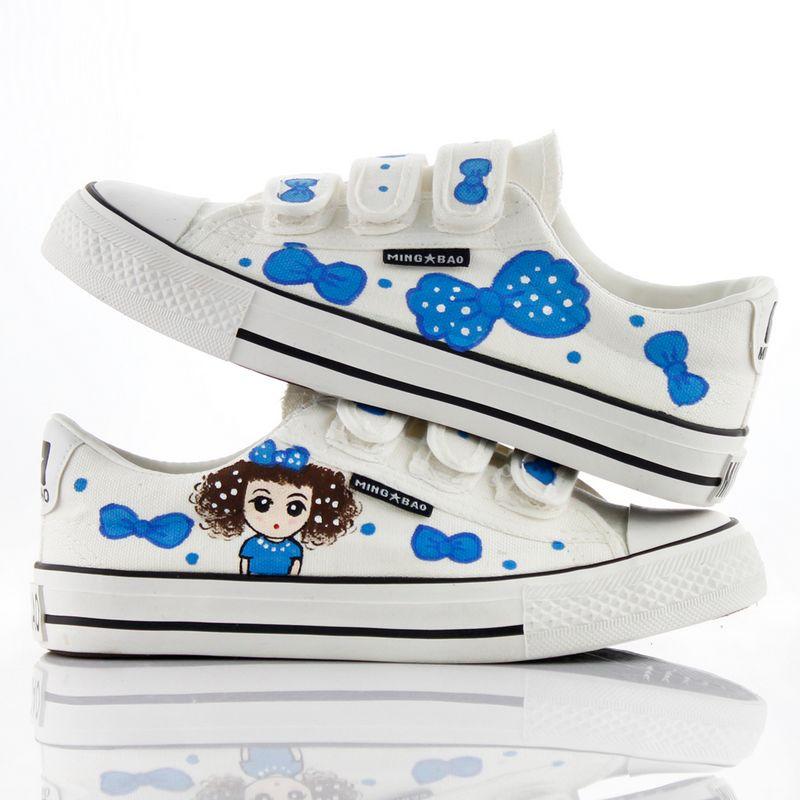 手绘涂鸦小白鞋鞋