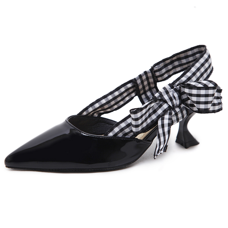 Point grid bowknot high-heeled sandals's main photo