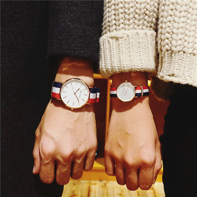 Korean version of the simple trend of fashion casual quartz watch male watch female students in the couple a pair of Li Yi Feng with the paragraph