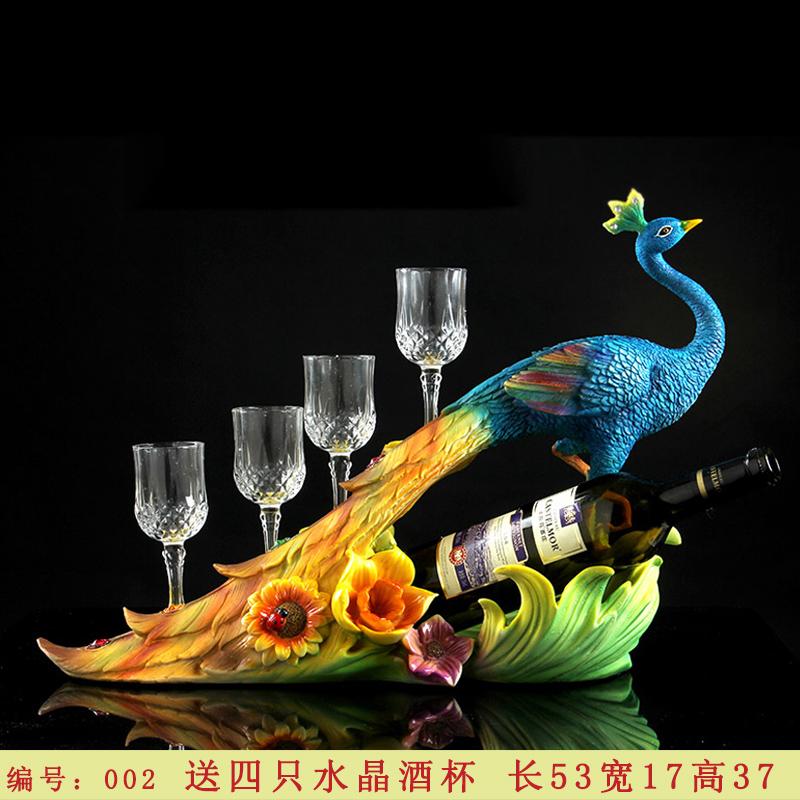 红酒架摆件欧式创意孔雀酒瓶杯架客厅酒柜装饰品吧台