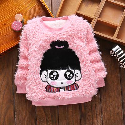 女宝宝冬装毛毛衣0-1-2-3岁半女童加厚打底衫套头