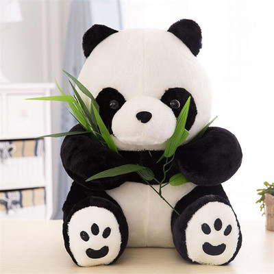 正版功夫大熊猫抱竹子熊公仔毛绒玩具可爱创意布娃娃