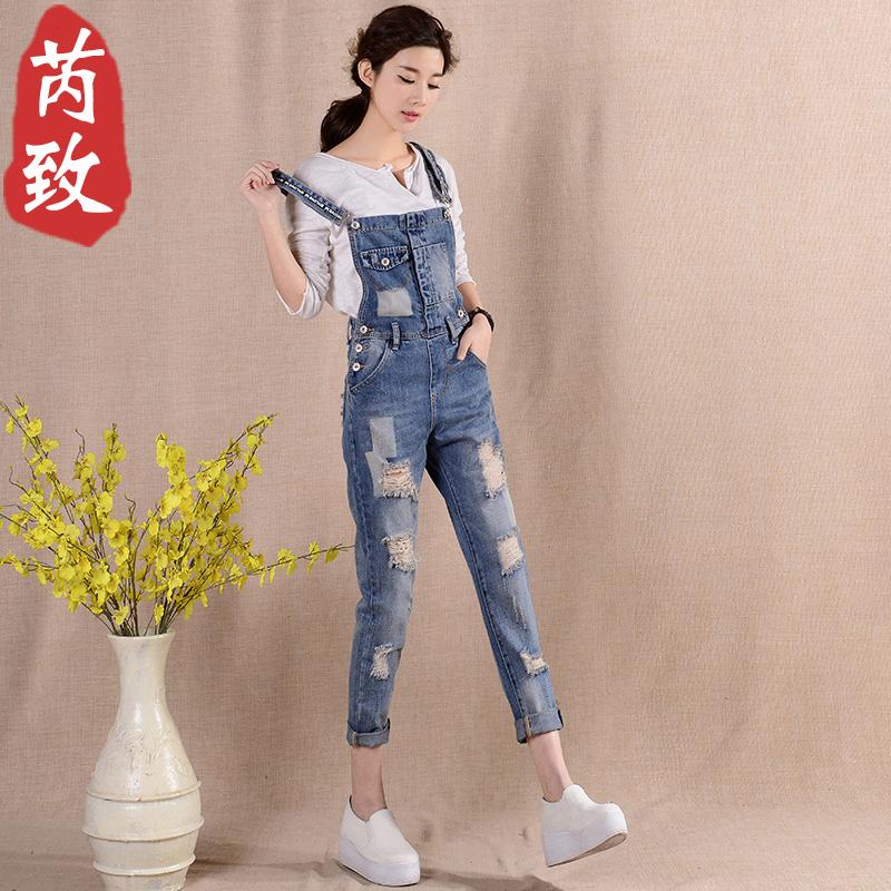 芮致牛仔裤女九分裤背带裤女春季韩版