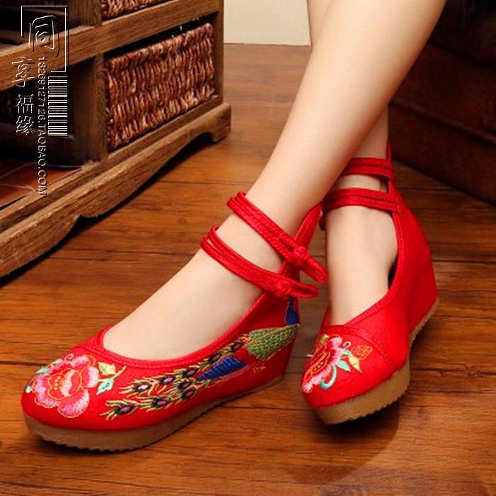 紅色34老布鞋子民族風高跟舞蹈繡花鞋紅色婚鞋旗袍漢服鞋刺繡女單鞋