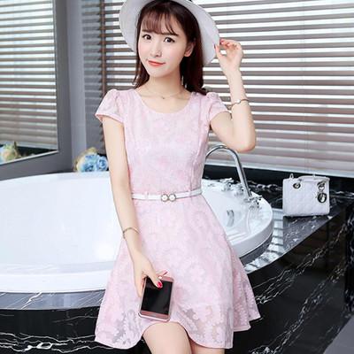 2016夏季新款女装韩版小清新收腰裙子夏天蕾丝气质修身短袖连衣裙