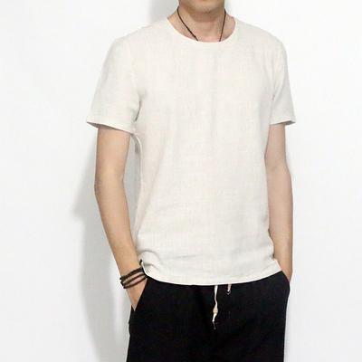 夏季新款棉麻男短袖t恤套头简约休闲半袖衫复古中式男装纯色棉麻t