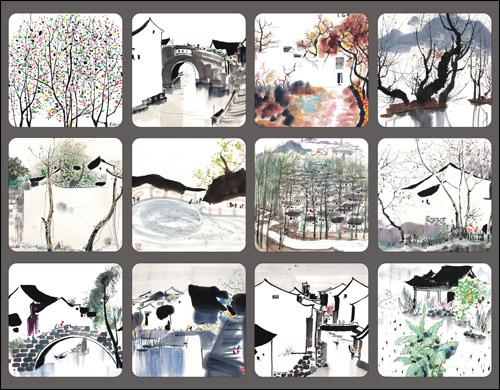 Цвет: Чернила Цзяннань набор из 12 открыток