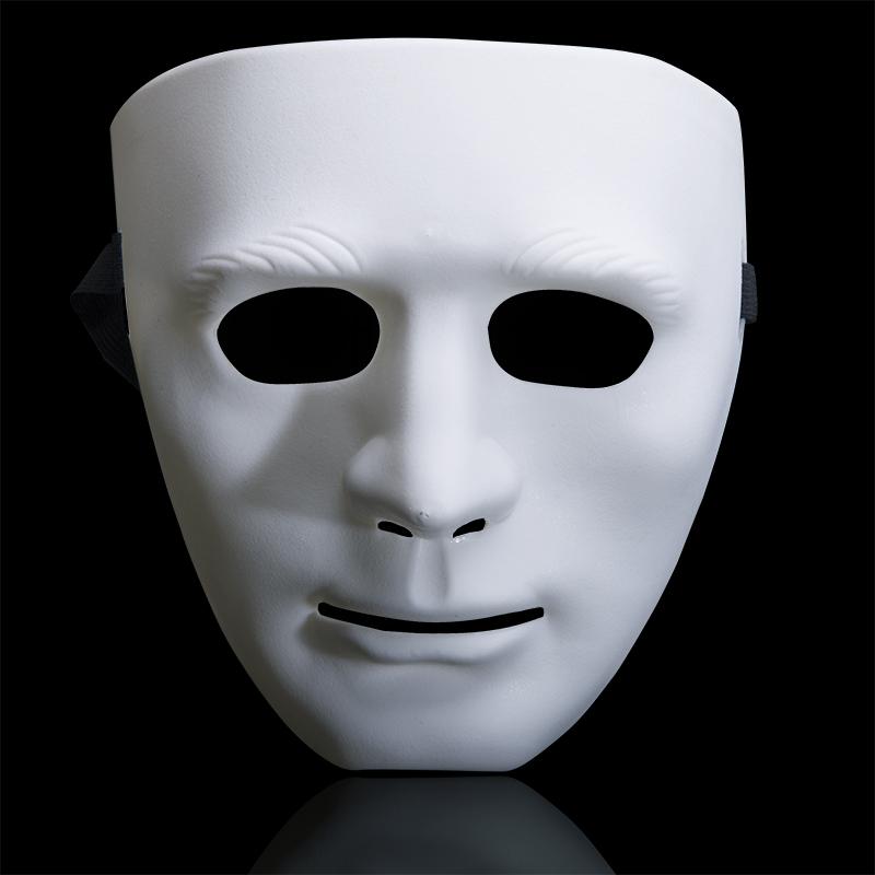 万圣节成人面具儿童全脸舞会步舞街舞男女白色鬼脸恐怖舞客手绘