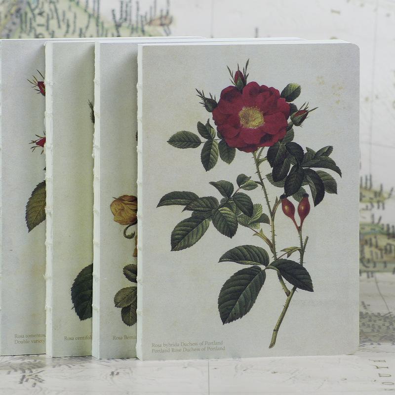雷杜德手繪玫瑰系列裸背裝筆記本180度平攤創意筆記本文具
