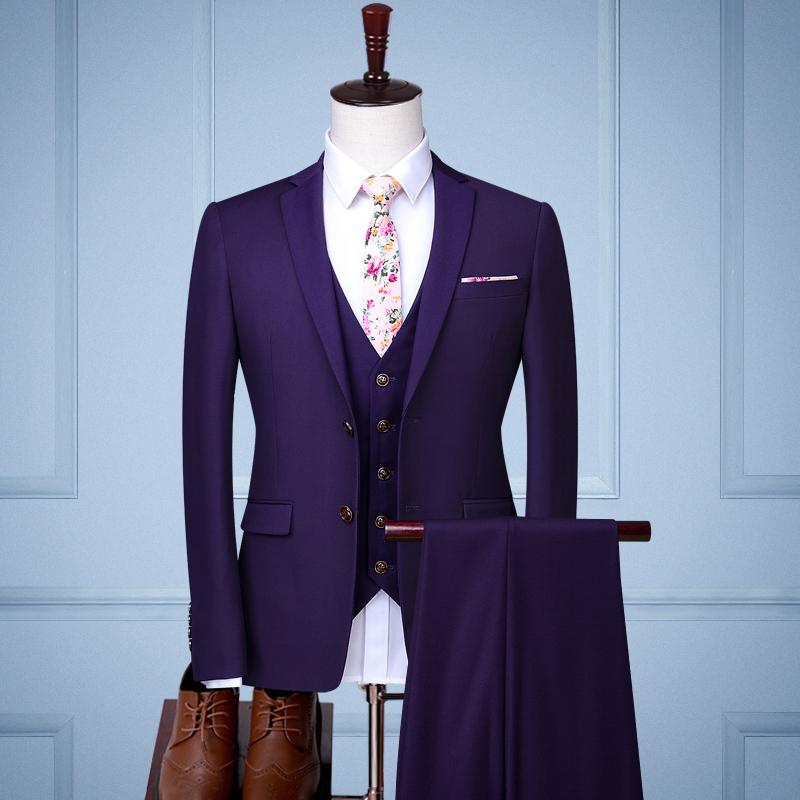 Цвет: Двойной пряжки фиолетовый три кусок набор (куртка+жилет+брюки)