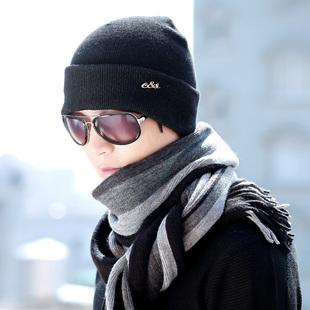 韩版男士百搭加厚保暖帽子围巾二件套
