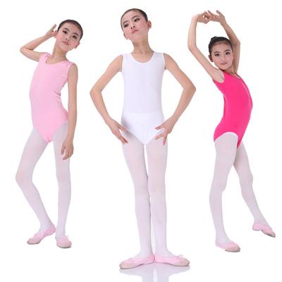 儿童棉质无袖连体背心体操考级舞蹈练功服白色粉色玫红黑