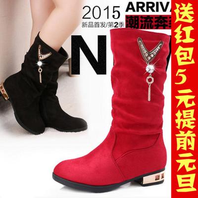 包邮秋款女童红色黑色长筒单靴子儿童小公主中筒靴小孩子表演童鞋