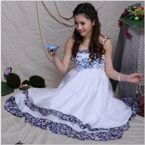 深藍色m民族風連衣裙夏新款 繡花釘珠二穿抹胸半身裙多層大擺長裙吊帶裙