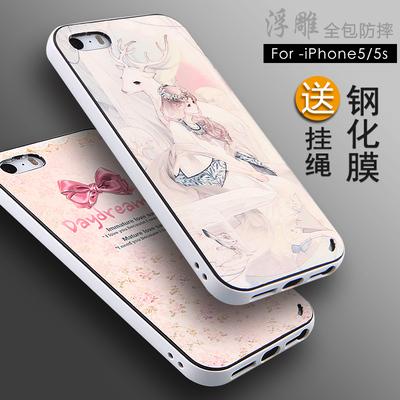 苹果5s手机壳矽胶软iphone5保护套边框男女款防