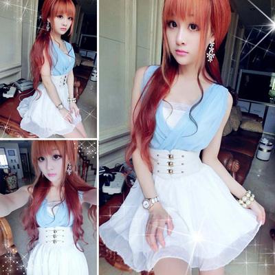 苛苛非主流女装韩版夏天2015夏装少女生可爱连衣裙子抹胸腰带套装