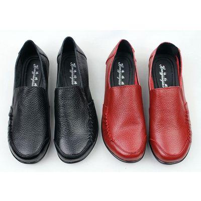 送妈妈秋冬真皮圆头深口女士皮鞋中老年低跟平底舒适牛皮女鞋包邮