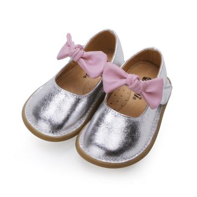 甜美蝴蝶结银色女童宝宝鞋皮鞋 小童公主鞋韩国版真皮内里儿童鞋