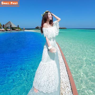 夏秋一字领露肩海边沙滩裙鱼尾蕾丝连衣裙波西米亚长裙度假显瘦女