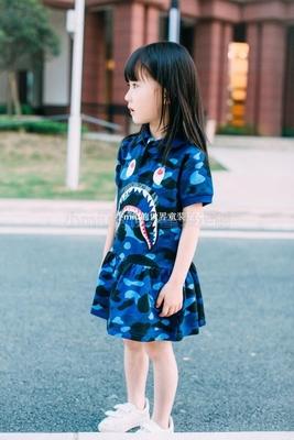 独家爆款学院风女童迷彩鲨鱼裙POLO裙纯棉软糯舒适儿童连衣裙现货
