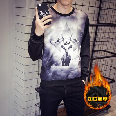 冬季加绒太空棉印花长袖T恤男士加肥加大码打底衫外套韩版潮男装