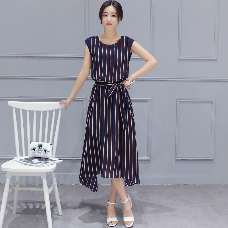 绑带收腰韩式不规则竖条纹长裙连衣裙