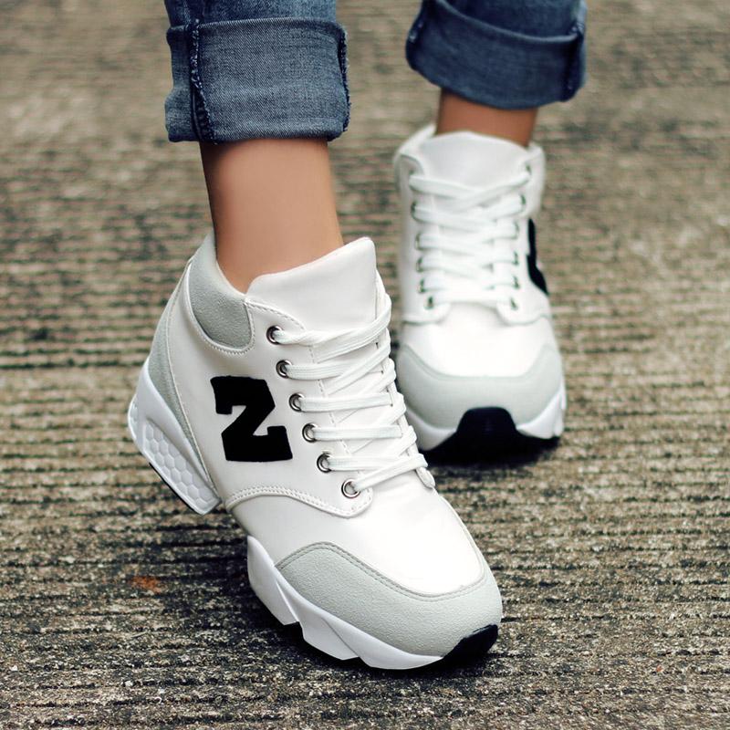 包邮韩版秋季N字母鞋系带内增高女鞋休闲运动鞋单鞋平底阿甘鞋子