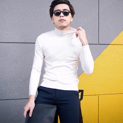 韩国秋冬基本款半高领打底针织衫男士百搭修身舒适半高领针织毛衣