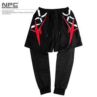 【NPC】LXVI 2015冬季新品假两件幻想世纪镭射光线印花运动长裤