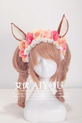 【Aiyou艾优】+Lolita 手作甜系 sweet 萌系鹿耳花朵KC发箍Ⅱ型