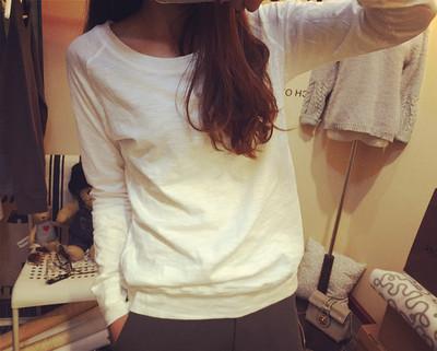 纯色T恤女长袖打底衫棉麻2015秋装新款宽松大码胖mm套头圆领上衣