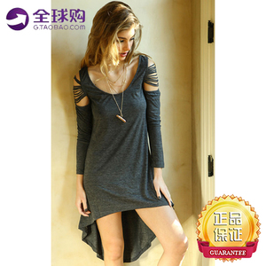 Gray long-sleeved dress casual style female round neck