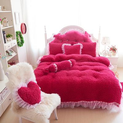 韩式冬季新款山羊绒玫瑰蕾丝花边毛绒加厚保暖四件套