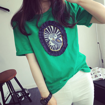 2015 summer new Korean Beaded T-shirt loose thin printed cotton short sleeved t-shirt t-shirt casual female Xia Baoyou