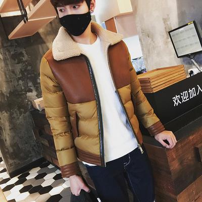 2015冬装新款男士青少年羽绒服翻领拼接加厚短款外套时尚百搭潮男